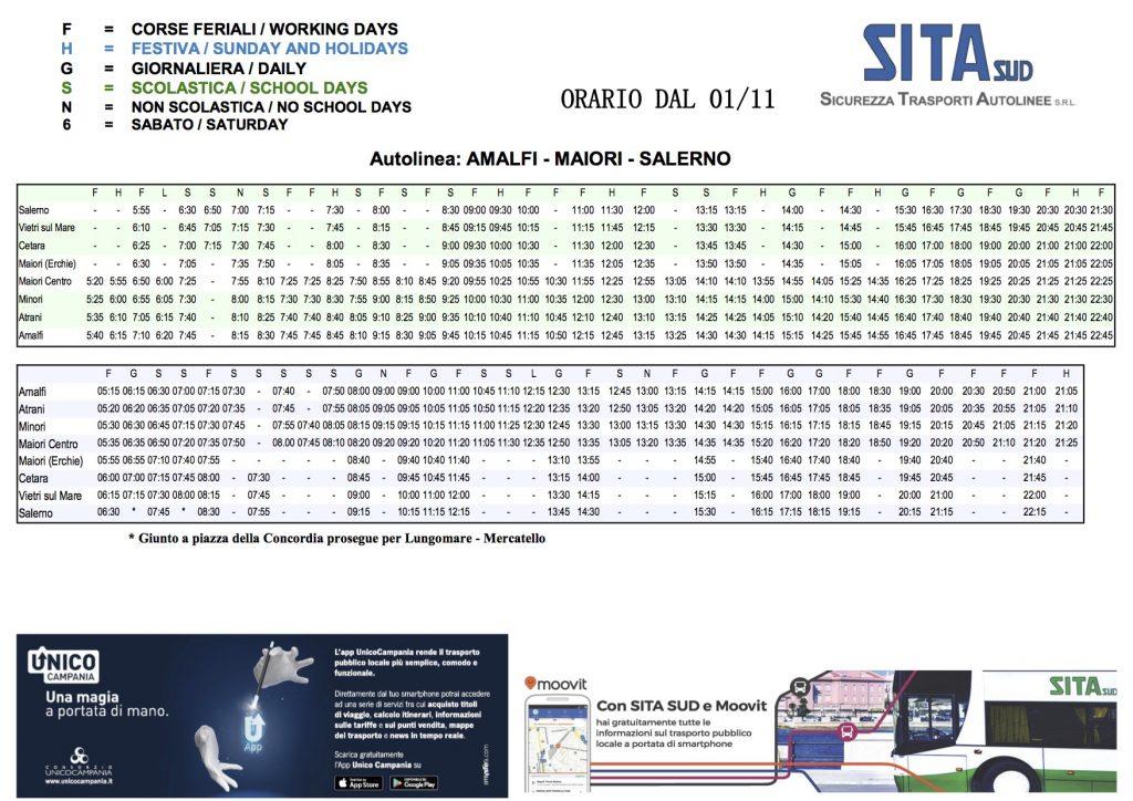 Orario dei dei bus per Amalfi